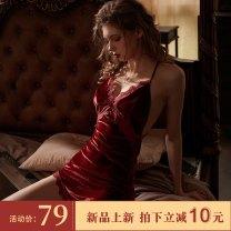 Fun pajamas nylon Other / other Velvet split nightdress Red, blue Short skirt other 160(M),165(L)