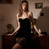 Fun pajamas nylon Other / other Golden velvet sexy pajamas Black, champagne powder Short skirt Lace 160(M),165(L)