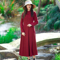 Dress Spring 2020 claret S,M,L,XL,2XL,3XL longuette singleton  Long sleeves commute stand collar middle-waisted Solid color Socket Pleated skirt routine Others Type X Skirt dancing ethnic style Fold, pocket, stitching, button, zipper More than 95% corduroy cotton