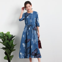 Dress Summer 2020 S,M,L,XL,2XL,3XL longuette singleton  elbow sleeve commute Crew neck middle-waisted Animal design Three buttons Big swing routine Others Type H Dream of skirt dance literature Pleating, pleating, lacing, stitching 31% (inclusive) - 50% (inclusive) other hemp