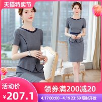 Dress Summer 2021 Black grey S M L XL 2XL 3XL Short skirt Fake two pieces Short sleeve commute other middle-waisted Solid color Socket One pace skirt routine Others 30-34 years old Type X J-ME Ol style Q116 51% (inclusive) - 70% (inclusive) brocade polyester fiber Pure e-commerce (online only)