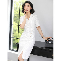 Dress Summer 2021 Black and white S M L XL 2XL 3XL longuette singleton  Short sleeve commute tailored collar middle-waisted stripe Socket One pace skirt routine Others 30-34 years old Type X J-ME Ol style Button Q8092 31% (inclusive) - 50% (inclusive) other nylon Pure e-commerce (online only)