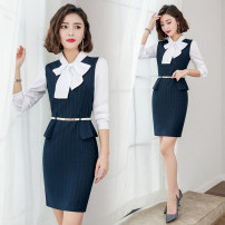 Dress Spring 2021 Dress S M L XL 2XL 3XL Short skirt singleton  Short sleeve commute tailored collar middle-waisted stripe Socket One pace skirt routine Others 30-34 years old Type X J-ME Ol style Pocket button zipper 51% (inclusive) - 70% (inclusive) polyester fiber Pure e-commerce (online only)