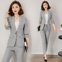 Professional pants suit Suit (Grey Stripe) trousers (Grey Stripe) shorts (Grey Stripe) suit + trousers (Grey Stripe) suit + shorts (Grey Stripe) suit + shorts + trousers (Grey Stripe) S M L XL XXL XXXL Summer 2021 Coat other styles elbow sleeve A3116+P3116 trousers J-ME 25-35 years old Vinylon