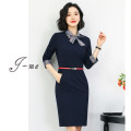 Dress Spring 2021 Navy Blue S M L XL 2XL 3XL Middle-skirt singleton  Long sleeves commute Crew neck middle-waisted Solid color Socket One pace skirt other Others 25-29 years old Type X J-ME Ol style zipper Q768 71% (inclusive) - 80% (inclusive) other polyester fiber Pure e-commerce (online only)