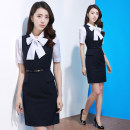Dress Summer 2021 Navy Blue S M L XL 2XL 3XL Mid length dress Fake two pieces Short sleeve commute Crew neck middle-waisted stripe zipper One pace skirt routine Others 25-29 years old Type H J-ME Simplicity Bow zipper Q930 51% (inclusive) - 70% (inclusive) other polyester fiber