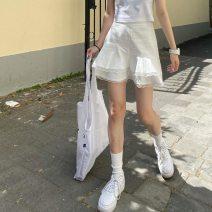skirt Summer 2020 S,M,L White, black Short skirt commute High waist other 30% and below cotton Korean version