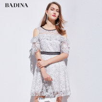 Dress Summer of 2019 Black set white, black set powder XS,S,M,L,XL,XXL Middle-skirt singleton  Short sleeve commute Crew neck High waist Solid color Socket A-line skirt routine 30-34 years old Type X Pattina lady Lace 192U229 71% (inclusive) - 80% (inclusive) Lace nylon