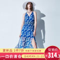 Dress Summer of 2019 Blue printing Mid length dress singleton  Sleeveless commute V-neck High waist Socket Big swing routine 25-29 years old Type H Color / calaver lady printing More than 95% Chiffon