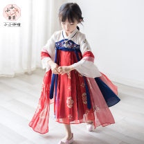 Tang costume Red, Navy, red silk, Navy silk 90,100,110,120,130,140,150,160,165 Polyester 95% polyurethane elastic fiber (spandex) 5% female spring and autumn There are models in the real shooting routine Bayouke 2 years old, 3 years old, 4 years old, 5 years old, 6 years old, 7 years old, 8 years old