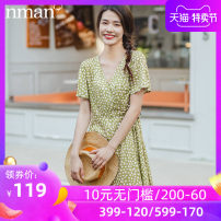 Dress Autumn 2020 Orange green S M L XL Mid length dress singleton  Short sleeve commute V-neck High waist Socket other routine 25-29 years old Type A Inman  literature Lace up printing More than 95% other Viscose (viscose) 100% Same model in shopping mall (sold online and offline)