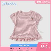 T-shirt bright red jellybaby 80cm 90cm 100cm 110cm 120cm 130cm female summer Short sleeve Crew neck leisure time No model nothing other stripe Cotton 91% polyurethane elastic fiber (spandex) 9% JXG12-JL578V other Summer 2021