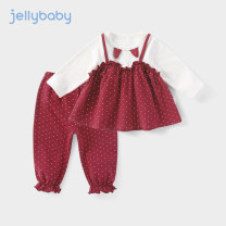 suit jellybaby Jujube and turmeric 80cm 90cm 100cm 110cm 120cm 130cm female spring and autumn leisure time Long sleeve + pants 2 pieces routine There are models in the real shooting Socket Dot cotton children Expression of love JT91846 other Cotton 95% polyurethane elastic fiber (spandex) 5%