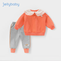suit jellybaby Pink turmeric orange blue jt01065 army green white dark gray 80cm 90cm 100cm 110cm 120cm 130cm female spring and autumn leisure time Long sleeve + pants 2 pieces routine There are models in the real shooting Socket nothing other other children Expression of love JT01827 other