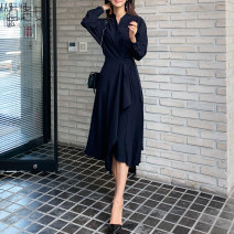 Dress Winter of 2019 navy blue S M L XL Mid length dress singleton  Long sleeves commute stand collar High waist Solid color Single breasted Pleated skirt shirt sleeve 25-29 years old Type A Barone Korean version Pleated frenulum More than 95% other Other 100% Pure e-commerce (online only)