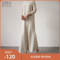 Dress Winter of 2019 White apricot Camel S M L XL Mid length dress singleton  Long sleeves commute Crew neck High waist Solid color Socket A-line skirt routine 25-29 years old Type A Barone Simplicity BLA83713 More than 95% knitting other Other 100% Pure e-commerce (online only)