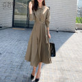 Dress Autumn of 2019 Black Khaki Green S M L XL Mid length dress singleton  Long sleeves commute Polo collar High waist Solid color Single breasted Pleated skirt routine 25-29 years old Type A Barone Korean version Pleated fabric lace up button BLA83333 More than 95% other Other 100%