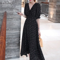 Dress Autumn of 2018 black S XL L M Mid length dress singleton  elbow sleeve commute V-neck High waist Dot Socket Big swing routine 25-29 years old Type A Barone Simplicity printing BLA80922 More than 95% other other Other 100% Pure e-commerce (online only)