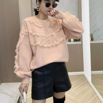 sweater Winter 2020 Average size Off white, pink, light blue, shrimp powder Long sleeves Socket singleton  Regular other 31% (inclusive) - 50% (inclusive) Crew neck thickening Sweet routine Solid color Straight cylinder Regular wool Keep warm and warm lesbian