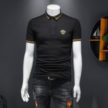Polo shirt Versace solid Fashion City thin Black, white XL,L,M,4XL,5XL,XXXL,XXL standard business affairs summer Short sleeve Versace Menswear Exquisite Korean style routine youth 2020 other Cotton ammonia Embroidery Embroidery