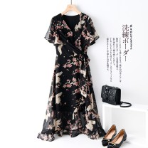 Dress Summer 2020 Black, black, white dots M,L,XL,2XL Mid length dress singleton  Short sleeve V-neck LY3723 More than 95% Chiffon