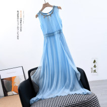 Dress Summer 2020 White, pink, skin powder, sky blue, light blue, white without accessories, sky blue without accessories, light blue without accessories XS,S,M,L,XL,2XL Mid length dress singleton  Sleeveless Type A LY2835 More than 95% silk