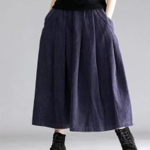 skirt Autumn of 2018 Average size Brown, Burgundy, sapphire Mid length dress commute Natural waist A-line skirt Solid color Type A 18025 stripe More than 95% corduroy cotton literature