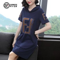 Dress Summer of 2019 Royal Blue M L XL 2XL 3XL 4XL Mid length dress singleton  Short sleeve commute Hood Loose waist letter Socket other routine Others 40-49 years old To Lishang Simplicity Diamond inlay Gls0198-A 51% (inclusive) - 70% (inclusive) other nylon Pure e-commerce (online only)
