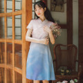 cheongsam Spring 2021 S,M,L,XL Gradient blue powder Short sleeve grace Low slit other 18-25 years old Other / other polyester fiber 71% (inclusive) - 80% (inclusive)
