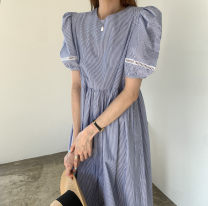 Dress Summer 2021 Picture color Average size Mid length dress singleton  Short sleeve commute Crew neck High waist stripe Single breasted Big swing Pile sleeve Others 18-24 years old Type A 81% (inclusive) - 90% (inclusive) other cotton