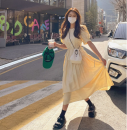 Dress Spring 2021 yellow Average size Mid length dress singleton  Short sleeve commute Crew neck High waist Solid color 18-24 years old