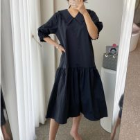 Dress Summer 2021 black Average size Mid length dress singleton  elbow sleeve commute V-neck Loose waist Solid color Socket A-line skirt routine Others 18-24 years old Type A 31% (inclusive) - 50% (inclusive) brocade cotton