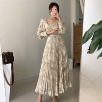 Dress Autumn 2020 Picture color S,M,L longuette singleton  Long sleeves commute V-neck High waist Decor Socket A-line skirt routine 18-24 years old Type A printing