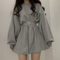 Dress Spring 2020 Gray, blue, black Average size Short skirt singleton  Long sleeves