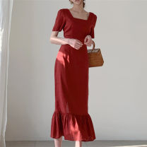 Dress Summer 2021 Apricot, red S, M Mid length dress singleton  Long sleeves commute square neck High waist Solid color 18-24 years old