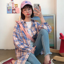 shirt Purple, yellow Average size Summer of 2019 polyester fiber 51% (inclusive) - 70% (inclusive) Long sleeves commute Medium length Polo collar Single row multi button puff sleeve lattice 18-24 years old Korean version Pocket, tridimensional decoration, thread decoration, buttons