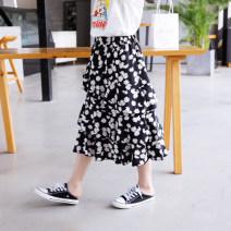 skirt 130cm,140cm,150cm,160cm,165cm black female Other 100% summer skirt leisure time Broken flowers Cake skirt Cotton blended fabric Class B