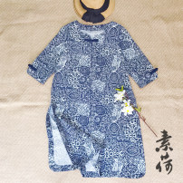 Women's large Summer 2016 Blue and white porcelain, autumn lotus Large L, m, s shirt singleton  commute easy thin Socket three quarter sleeve Abstract pattern, lattice literature Crew neck Medium length printing and dyeing routine Women's red show 30-34 years old 31% (inclusive) - 50% (inclusive)