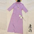 cheongsam Summer 2020 M, L Rose lattice, beige lattice three quarter sleeve long cheongsam Retro Low slit daily Oblique lapel lattice Women's red show cotton 96% and above