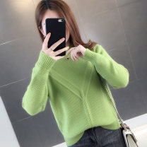 sweater Autumn of 2019 S M L XL Light coffee pink purple Avocado Green Orange Red White Black Long sleeves Socket singleton  Regular other 95% and above Half high collar thickening commute routine Solid color Straight cylinder Regular wool Keep warm and warm 25-29 years old Meidan beauty MDJR-1909052