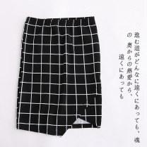 skirt Summer 2020 S,M,L,XL,1X,2X,3X Black bottom lattice A-5-12-2, white bottom lattice A-5-12-2, foundation lattice A-5-12-2 Short skirt commute lattice Lady Boya Korean version