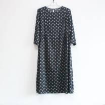 Dress Summer 2020 Navy Blue L,XL,2XL,3XL Elastic waist 91% (inclusive) - 95% (inclusive) Silk and satin silk