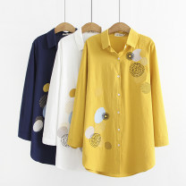 shirt Yellow, white, Navy, yellow *, white *, haze blue* 40. 2XL, 3XL, 4XL, collect and buy Baby / store priority delivery Autumn 2020 cotton 96% and above Long sleeves commute Medium length Polo collar Single row multi button routine other 40-49 years old Straight cylinder Other / other Simplicity