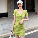 Dress Summer 2021 Black, fruit green S,M,L,XL Middle-skirt singleton  Short sleeve commute V-neck High waist Solid color Socket One pace skirt routine Others Type H Korean version Pleating, folding, stitching 31% (inclusive) - 50% (inclusive) knitting cotton