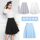 skirt Summer 2017 M,L,XL,2XL White, black, pink, sky blue Middle-skirt Versatile High waist Pleated skirt Solid color Type A 18-24 years old Other / other