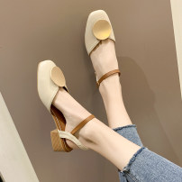 Sandals Off white, apricot PU Other / other Baotou Thick heel Middle heel (3-5cm) Spring 2020 Flat buckle rubber daily Back space Low Gang Hollow PU PU Roman shoes