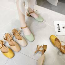 Sandals 35,36,37,38,39,40, after the collection of baby and shopping cart order priority delivery Off white, apricot, Matcha green, cream yellow PU Weita Baotou Thick heel Middle heel (3-5cm) Spring 2020 Flat buckle Solid color Adhesive shoes Youth (18-40 years old) rubber Back space Ankle strap PU