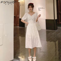 Dress Summer 2021 White red purple black Average size longuette singleton  Long sleeves commute V-neck High waist Solid color Socket A-line skirt routine 18-24 years old Type A Fan Weier Korean version Button More than 95% other Other 100% Pure e-commerce (online only)