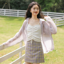 shirt White purple Average size Spring 2021 other 96% and above Long sleeves Sweet Regular Polo collar Single row multi button routine Solid color 18-24 years old Straight cylinder Fan Weier 8522-1 Other 100% Pure e-commerce (online only) solar system