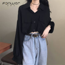 shirt black Average size Summer 2021 other 96% and above Long sleeves Versatile Short style (40cm < length ≤ 50cm) Polo collar Single row multi button Solid color 18-24 years old Fan Weier Other 100% Pure e-commerce (online only)